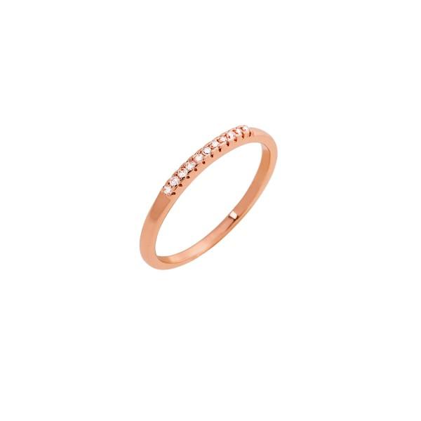 Δαχτυλίδι ροζ χρυσό βεράκι ασήμι 925° με ζιργκόν PS/8A-RG103-2