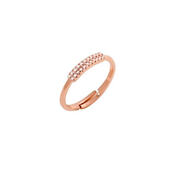 Δαχτυλίδι ροζ χρυσό βεράκι ασήμι 925° με ζιργκόν PS/8A-RG104-2