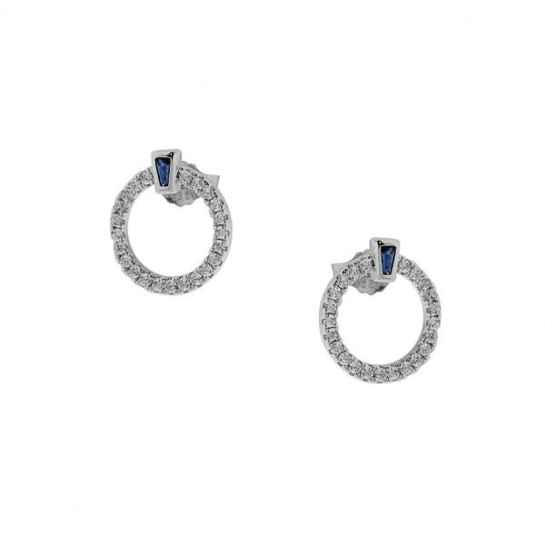 Σκουλαρίκια καρφωτά από ασήμι 925° επιπλατινωμένο με λευκά ζιργκόν PS/8A-SC194-1M