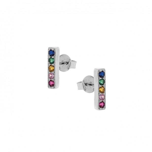 Σκουλαρίκια Rainbow σειρέ από ασήμι 925° επιπλατινωμένο με πολύχρωμα ζιργκόν PS/9Β-SC074-5