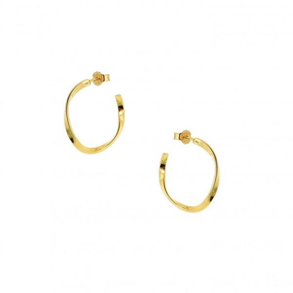 Κρίκοι wavy χρυσοί από ασήμι 925° PS/9A-SC139-3