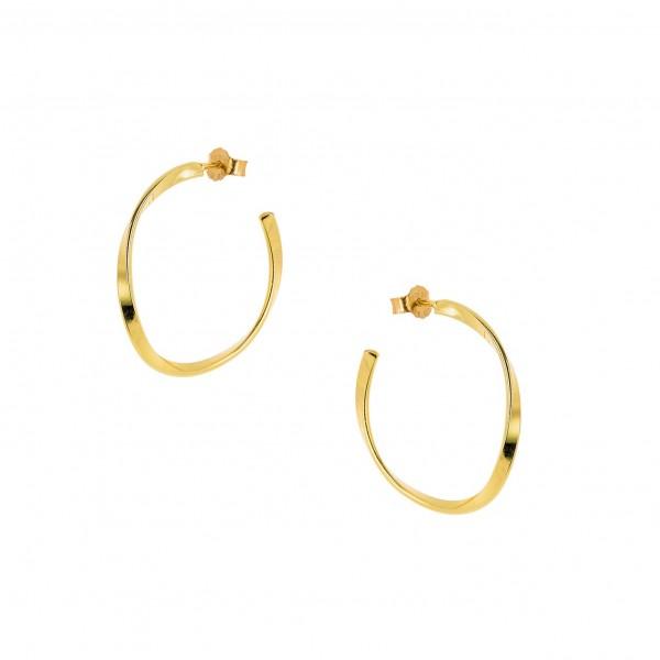 Κρίκοι wavy χρυσοί από ασήμι 925° PS/9A-SC138-3