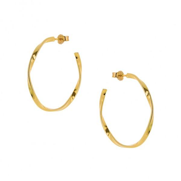 Κρίκοι wavy χρυσοί από ασήμι 925° PS/9A-SC137-3