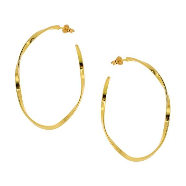 Κρίκοι μεγάλοι wavy χρυσοί από ασήμι 925° PS/9A-SC136-3