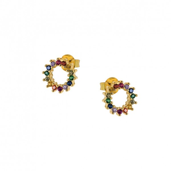 Earrings Rainbow silver 925° gold plated multicolor zircons PS/9B-SC072-5