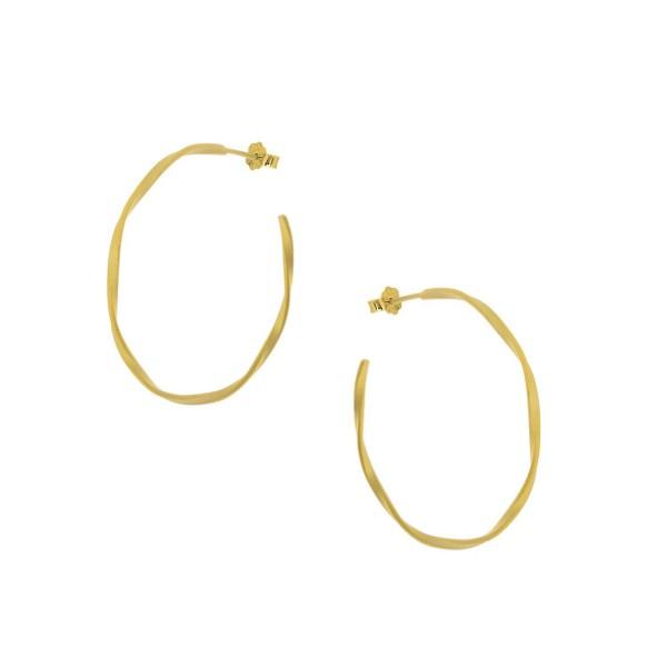 Κρίκοι wavy ματ χρυσοί από ασήμι 925° PS/9A-SC141-3