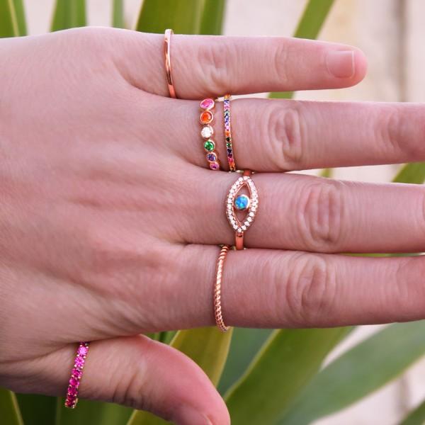 Δαχτυλίδι Rainbow ροζ χρυσό από ασήμι 925° με πολύχρωμα ζιργκόν PS/8TA-RG007-2O