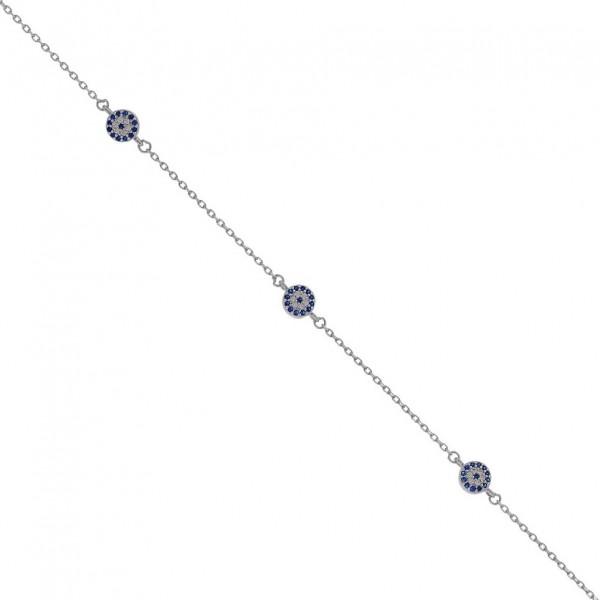 Βραχιόλι με ματάκια από ασήμι 925° με ζιργκόν PS/8A-BR218