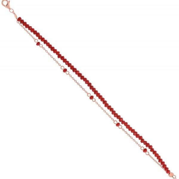 Βραχιόλι ροζ χρυσό διπλό από ασήμι 925° και κόκκινες πέτρες PS/8A-BR233-2R