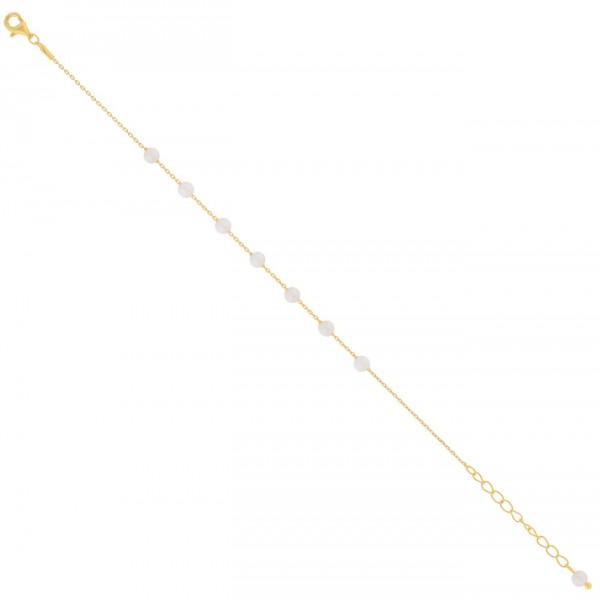 Βραχιόλι ποδιού χρυσό από ασήμι 925° και φυσικές πέρλες PS/8A-AN090-3
