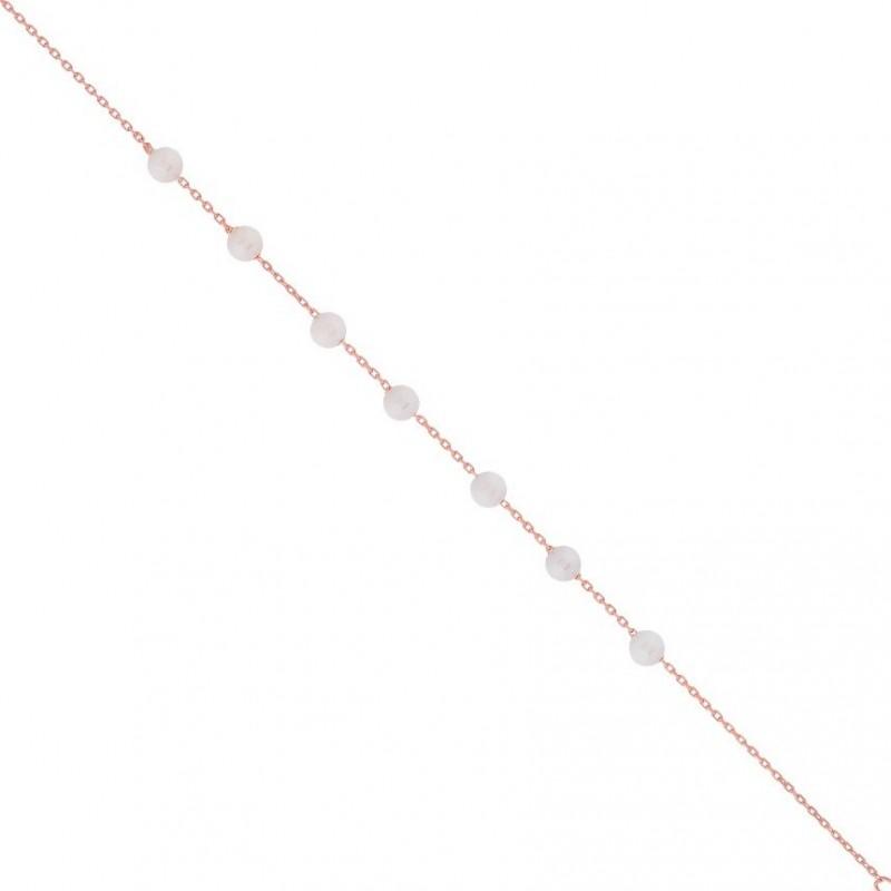 Βραχιόλι ποδιού ροζ χρυσό από ασήμι 925° και φυσικές πέρλες PS/8A-AN090-2
