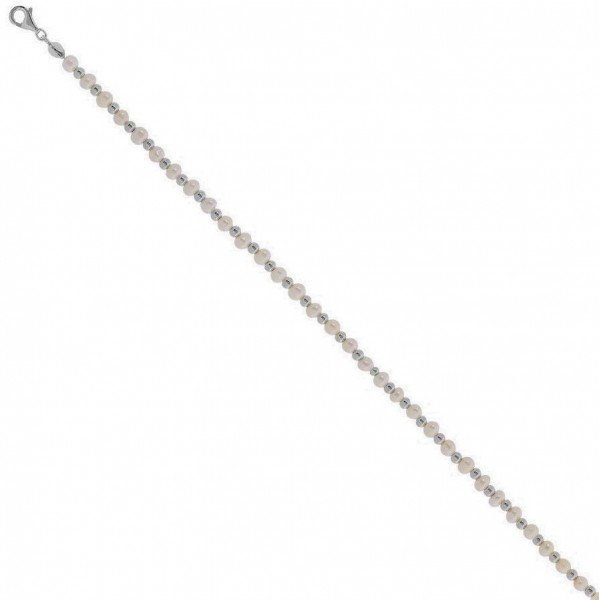 Βραχιόλι ποδιού από ασήμι 925° και φυσικές πέρλες PS/8A-AN089-1