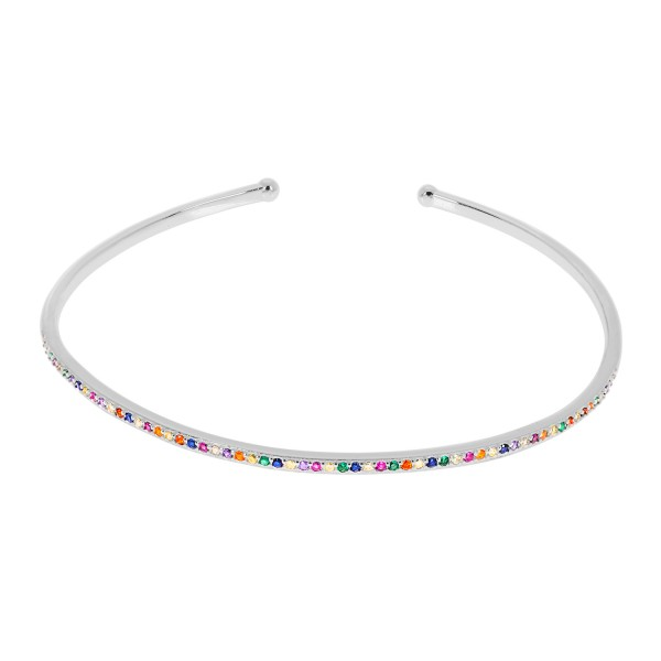 Cuff bracelet Rainbow silver 925° with multicolor zircons PS/8A-BR251-1O