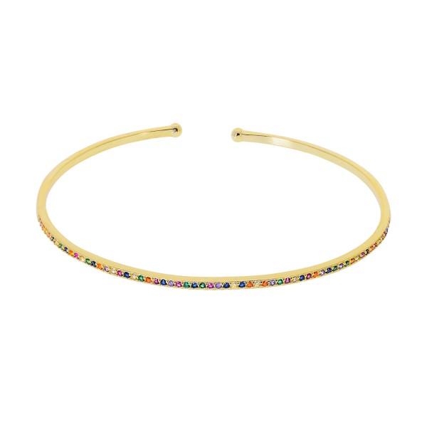 Βραχιόλι χρυσή χειροπέδα σειρέ Rainbow ασήμι 925° πολύχρωμα ζιργκόν PS/8A-BR251-3O