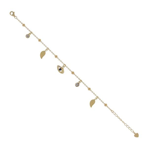 Βραχιόλι ματάκι χρυσό από ασήμι 925° με κρεμαστά ζιργκόν και φύλλα PS/8A-BR248-3M