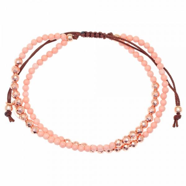 Βραχιόλι ασήμι 925 με ροζ επιχρύσωση & με ροζ κοράλι και κορδόνι GRE-46509