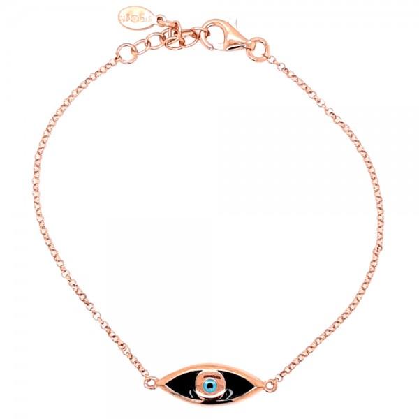Βραχιόλι ασήμι 925 ροζ επιχρύσωση και ματάκι GRE-54225