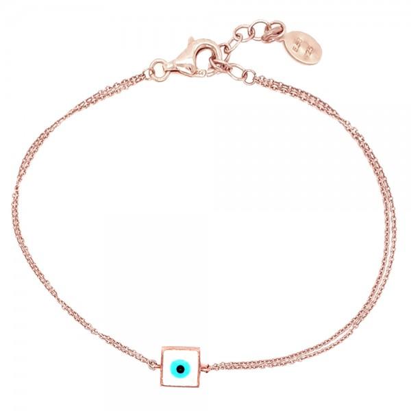 Βραχιόλι ασήμι 925 ροζ επιχρύσωση και ματάκι GRE-51621
