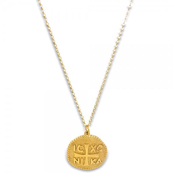 Κολιέ Κωνσταντινάτο ασήμι 925 επιχρυσωμένο. Η αλυσίδα ρυθμίζεται σε μήκος 40εκ. - 43εκ. / 2.00