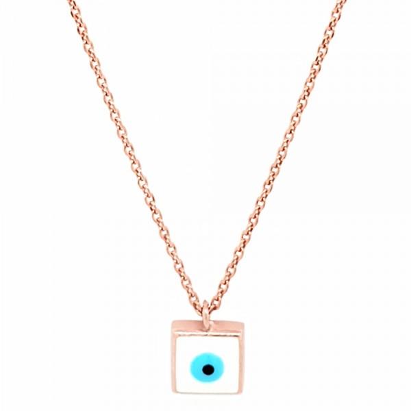 Κολιέ ασήμι 925 ροζ επιχρυσωμένο με ματάκι GRE-51615