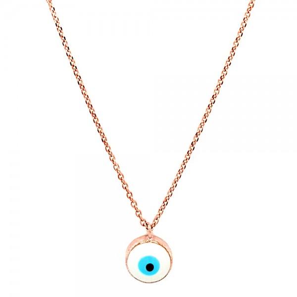 Κολιέ ασήμι 925 ροζ επιχρυσωμένο με ματάκι GRE-51613