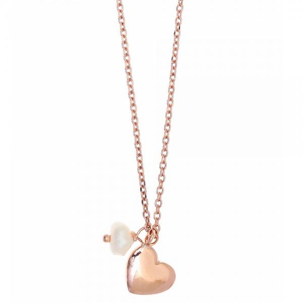 Κολιέ ασήμι 925 ροζ επιχρυσωμένο και ζιργκόν GRE-37302