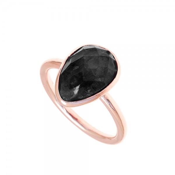 Δαχτυλίδι ασήμι 925 ροζ επιχρυσωμένο με ορυκτές πέτρες GRE-50181