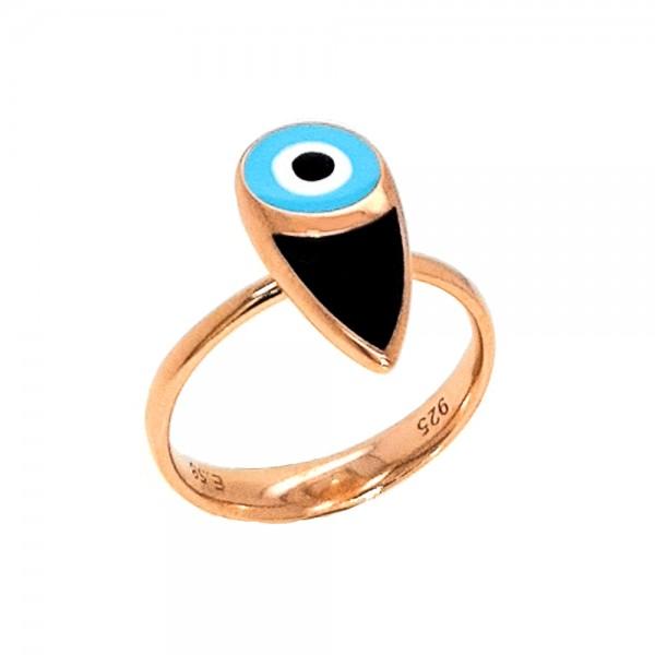 Δαχτυλίδι ασήμι 925 ροζ επιχρυσωμένο με ματάκι GRE-54221
