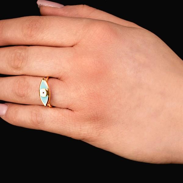 Δαχτυλίδι ασήμι 925 επιχρυσωμένο με ματάκι GRE-56327