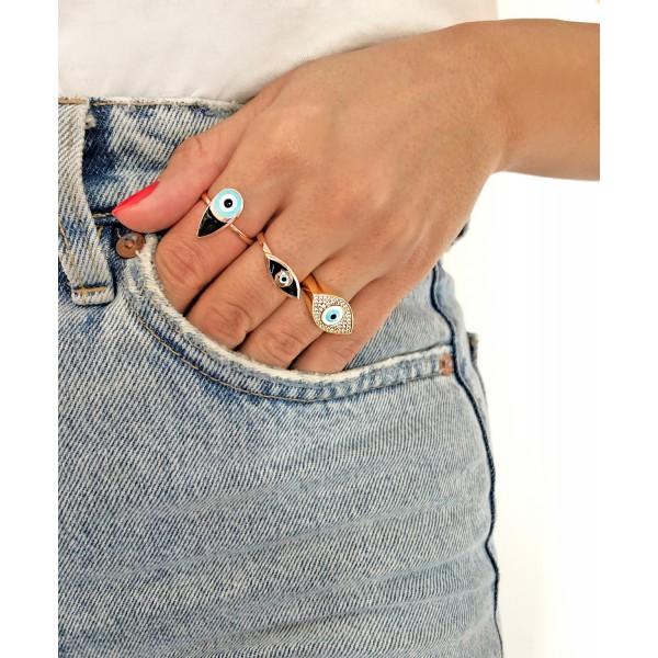 Δαχτυλίδι ασήμι 925 ροζ επιχρυσωμένο με ματάκι GRE-53811