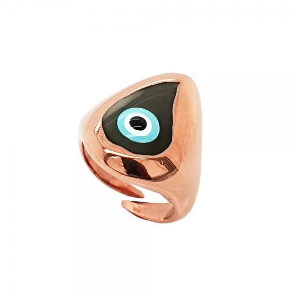 Δαχτυλίδι ασήμι 925 ροζ επιχρυσωμένο με ματάκι GRE-50481