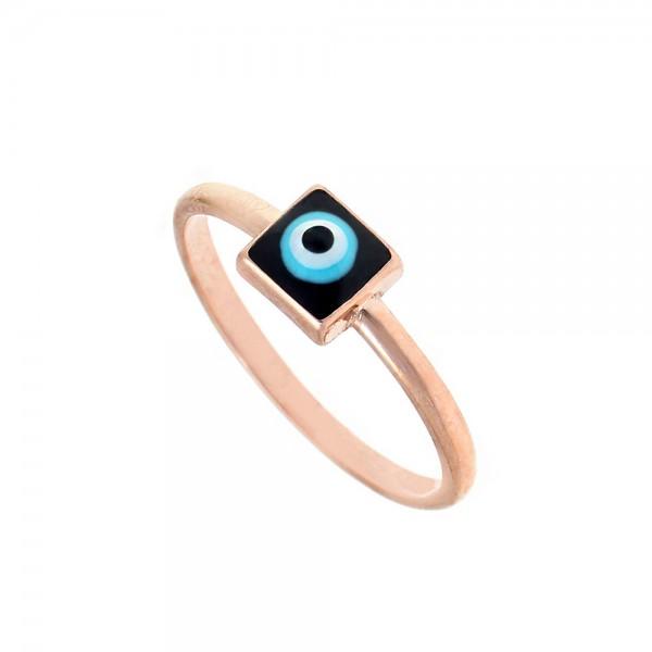 Δαχτυλίδι ασήμι 925 ροζ επιχρυσωμένο με ματάκι GRE-54005