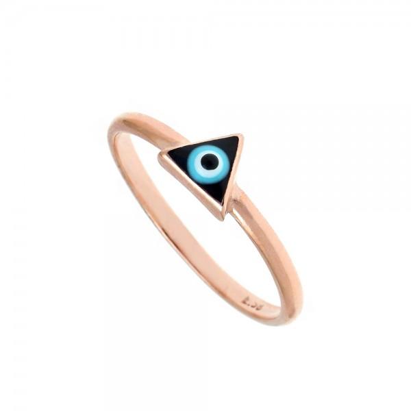 Δαχτυλίδι ασήμι 925 ροζ επιχρυσωμένο με ματάκι GRE-54006
