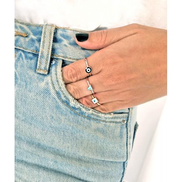 Δαχτυλίδι ασήμι 925 ροζ επιχρυσωμένο με ματάκι GRE-54004