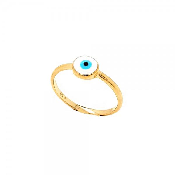 Δαχτυλίδι ασήμι 925 ροζ επιχρυσωμένο με ματάκι GRE-51630