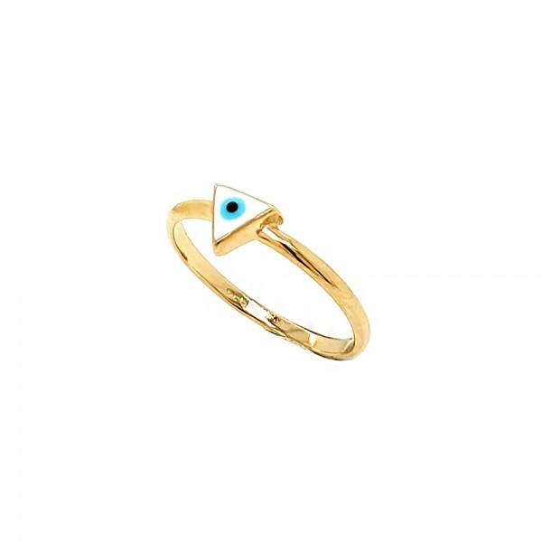 Δαχτυλίδι ασήμι 925 επιχρυσωμένο με ματάκι GRE-53815