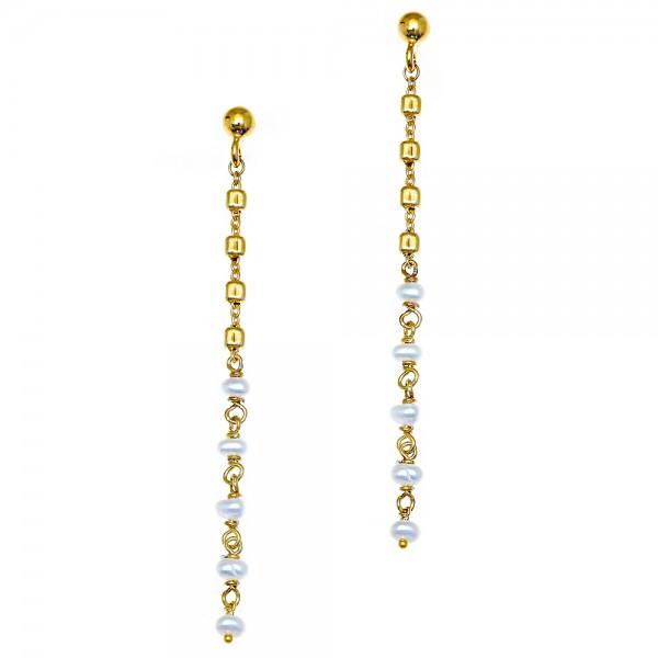 Σκουλαρίκια ασήμι 925 επιχρυσωμένα με μαργαριτάρι GRE-56209