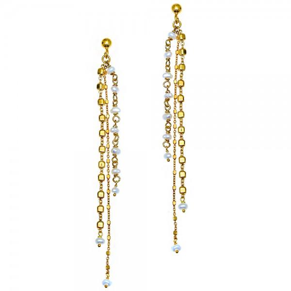 Σκουλαρίκια ασήμι 925 επιχρυσωμένα με μαργαριτάρι GRE-56036