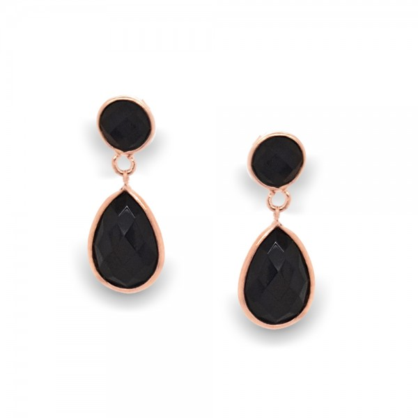Earrings silver 925 pink gold plated with onyx GRE-50554