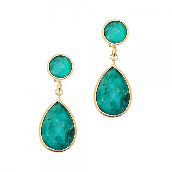 Earrings silver 925 gold plated with gem stones GRE-43288