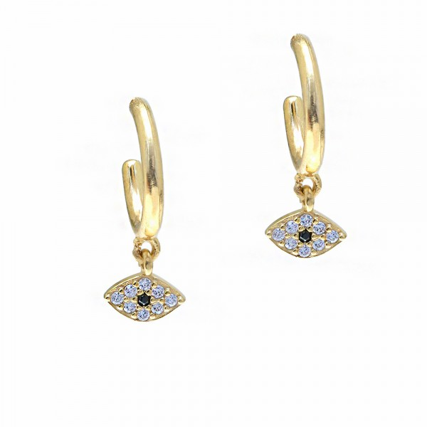 Earrings silver 925 yellow gold plated with zircon GRE-55733