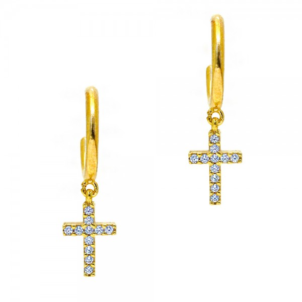 Earrings silver 925 yellow gold plated with zircon GRE-55802