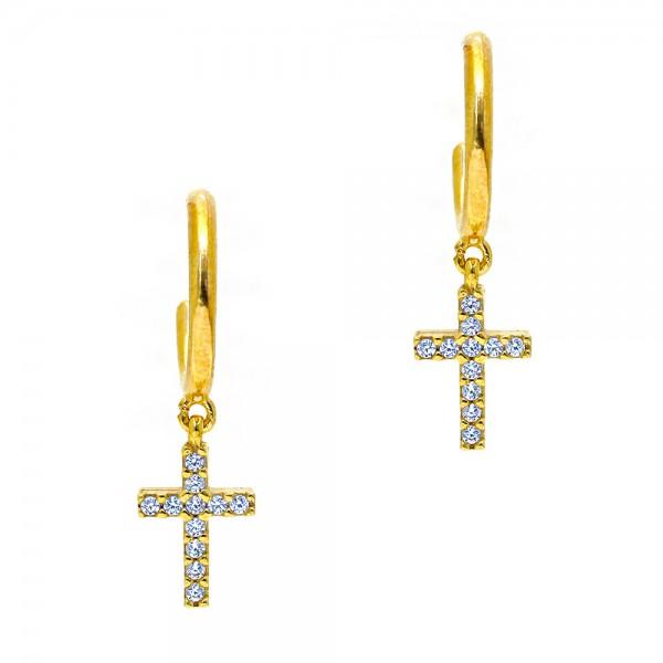 Σκουλαρίκια ασήμι 925 επιχρυσωμένα με ζιργκόν GRE-55802