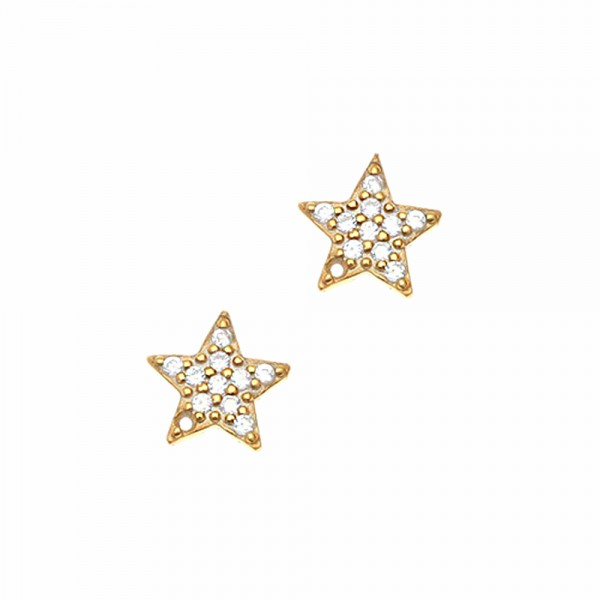 Earrings silver 925 gold plated with zircon GRE-45699