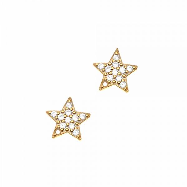 Σκουλαρίκια ασήμι 925 επιχρυσωμένα με ζιργκόν GRE-45699