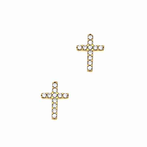 Earrings silver 925 yellow gold plated with zircon GRE-45717