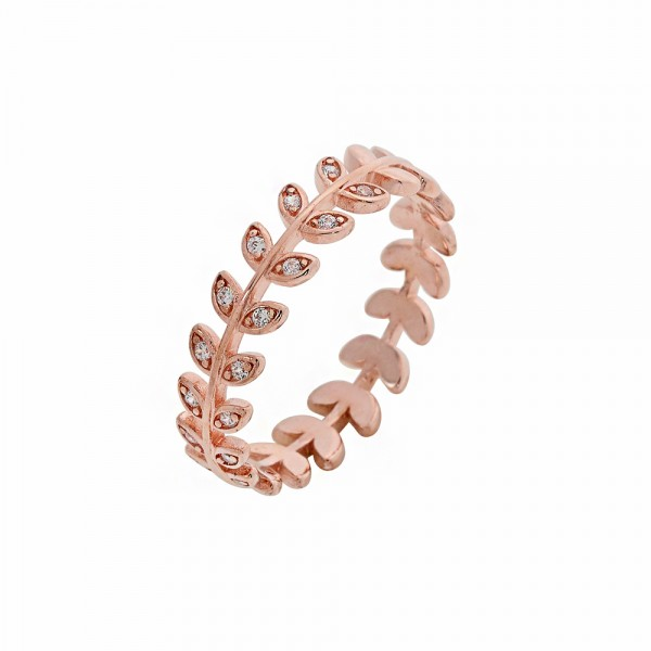 Δαχτυλίδι ασήμι 925 ροζ επιπλατινωμένο με ζιργκόν PS/8A-RG092-2