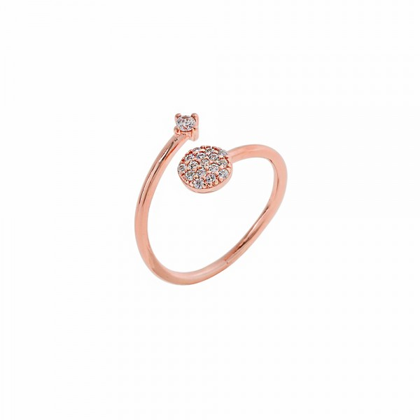 Δαχτυλίδι ασήμι 925 ροζ επιπλατινωμένο με ζιργκόν PS/9C-RG055-2