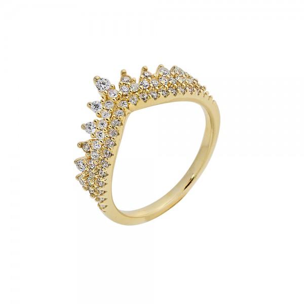 Δαχτυλίδι ασήμι 925 επιχρυσωμένο με ζιργκόν PS/8A-RG083-3