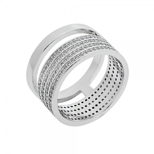 Δαχτυλίδι ασήμι 925 επιπλατινωμένο με τέσσερις σειρές ζιργκόν PS/8A-RG108-1